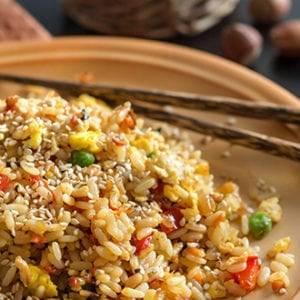 Nasi of bami of gratin